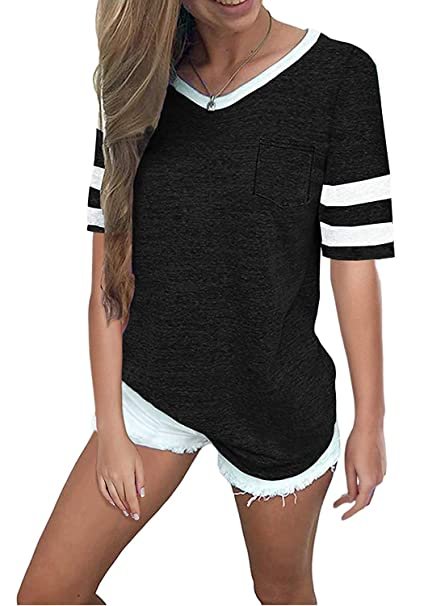 dc3de89a3f7e2 Sweetnight Womens Short Sleeve Football Tee Summer Loose Tops Striped T-Shirts  V Neck Blouses