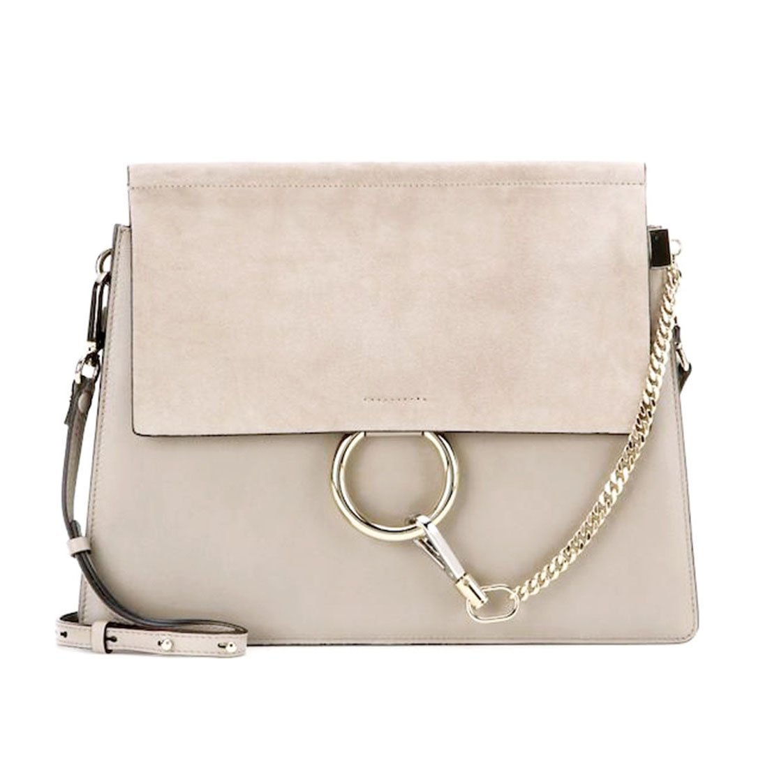 Actlure Cowhide Leather Crossbody Shoulder Purse Chain Link Faye Bag (Grey-M)