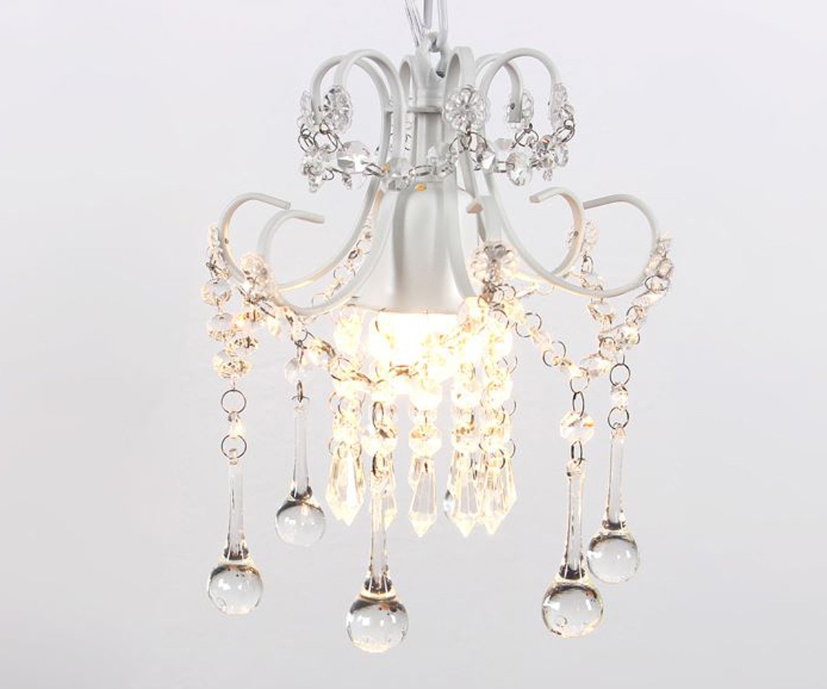 Mini Style Crystal Chandelier Pendant Light White