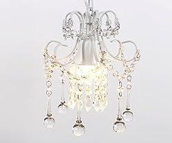 Mini Style Crystal Chandelier Pendant Light White,1-Light