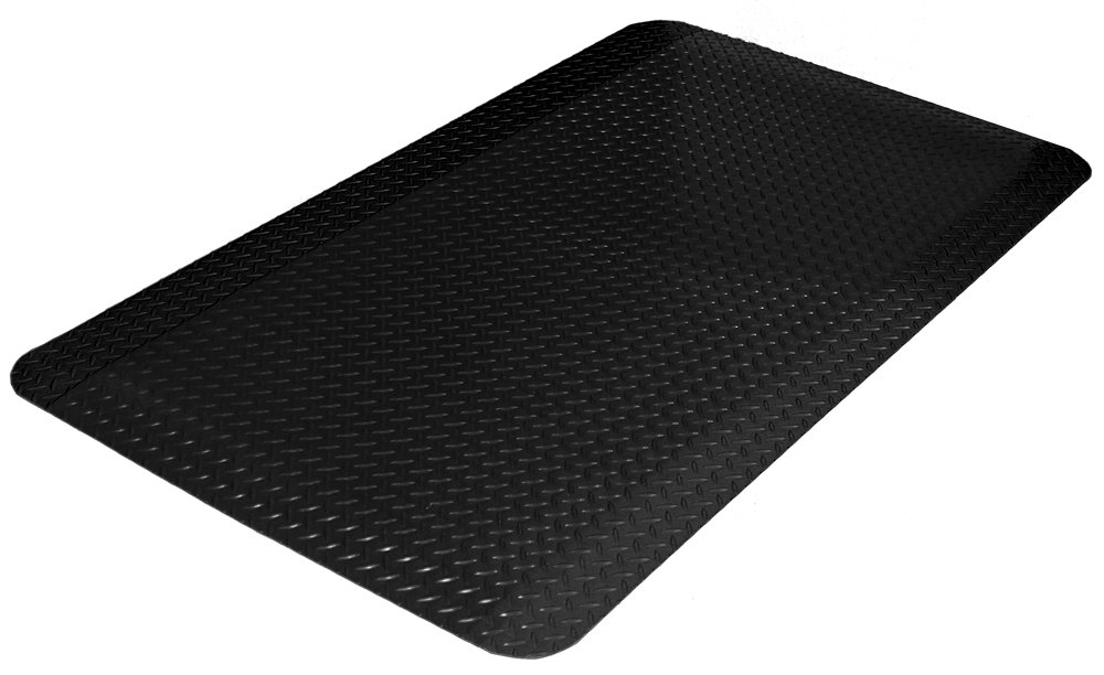 Durable Vinyl Heavy Duty Diamond-Dek Sponge Industrial Anti-Fatigue Floor Mat, 3' x 5', Black