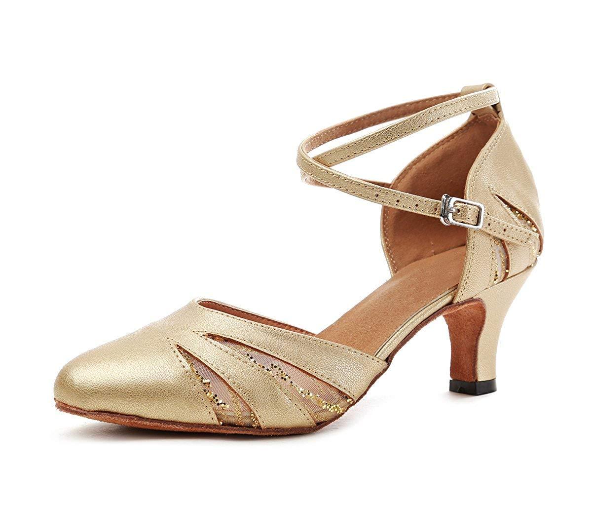 Qiusa GL261 Frauen Geschlossene Zehe Gold Mesh Synthetische Salsa Latin Dance Schuhe Partei Pumpen UK 6 5 (Farbe   - Größe   -)