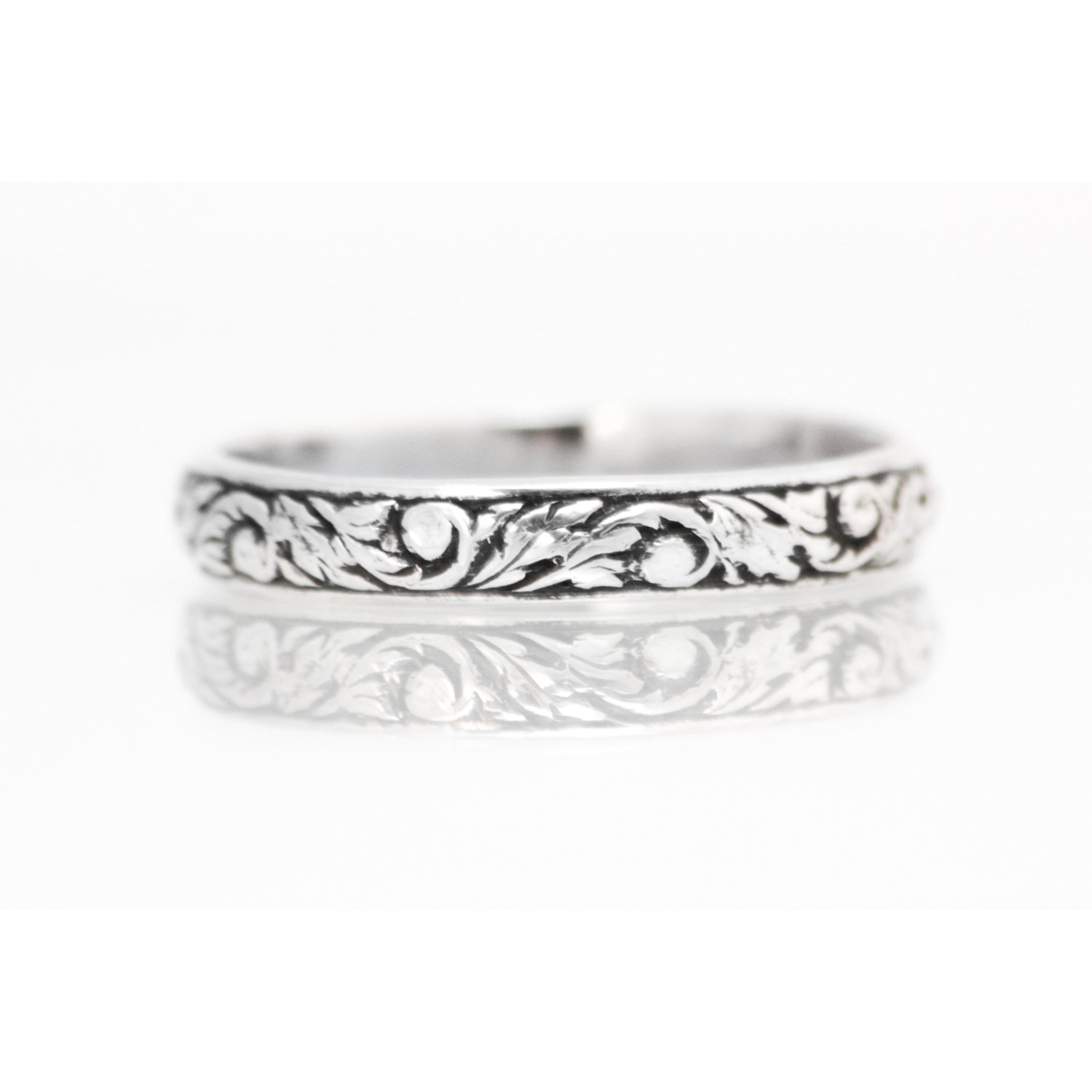 Sterling Silver Nature Inspired Narrow Wedding Band, Silver Vine Promise Ring