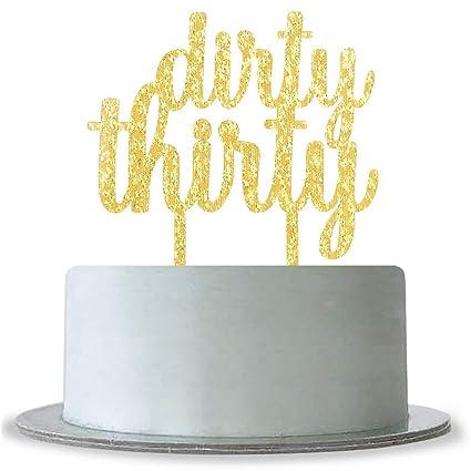 Amazon Dirty Thirty Cake Topper Gold Happy 30th Birthday30