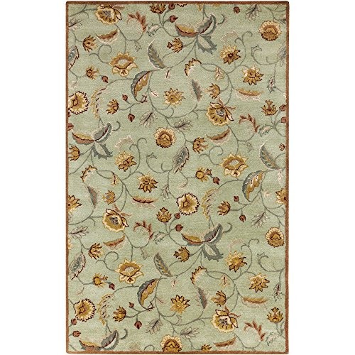 - Surya Ancient Treasures A-172 Classic Hand Tufted 100% Semi-Worsted New Zealand Light Jade 9' x 13' Traditional Area Rug