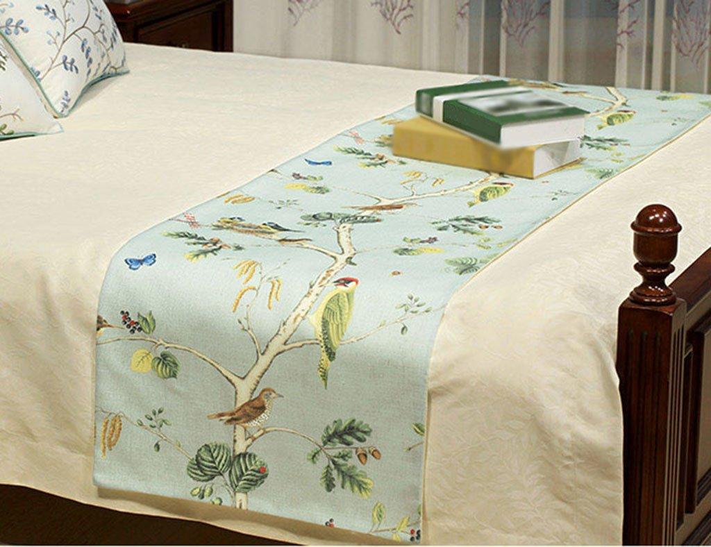 Corredor de la tabla ERRU Mesa de corredor de algodón y lino de impresión de mesa de café American Country Bed Runner Hotel de cama de toalla de viaje Manteles (Color : Azul, Tamaño : 50260cm)