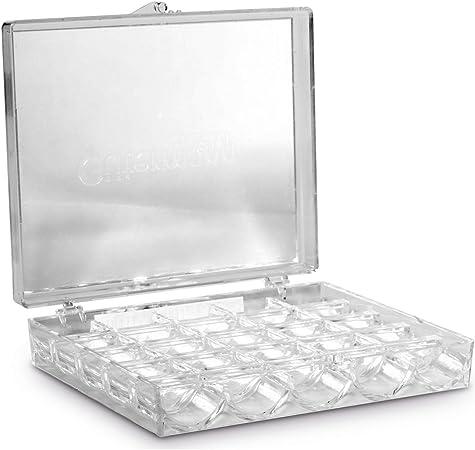 Gutermann - Caja para 25 bobinas de Hilo (acrílico), Transparente: Amazon.es: Hogar