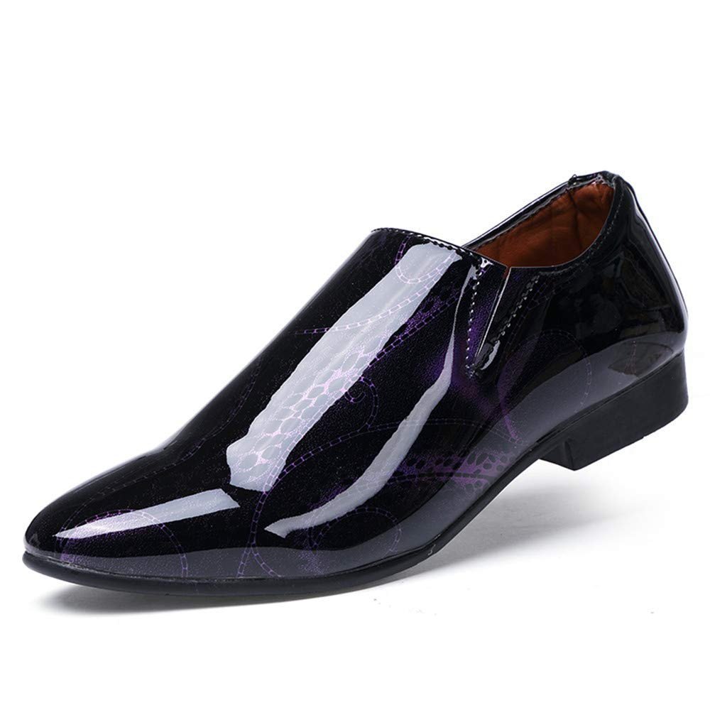 HYF Oxford Shoes Men's Business Oxford Casual Personality Fashion Show Off The Color Pointed Toe Business Shoes for Men (Color : Purple, Size : 7.5 M US)