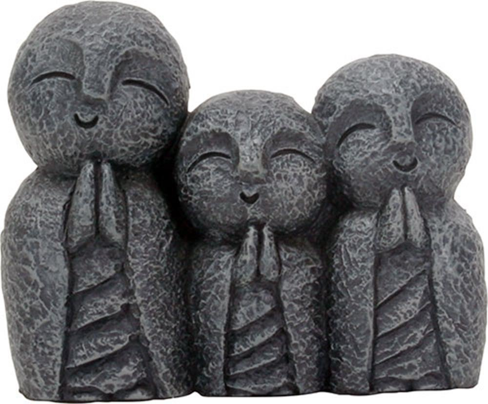 Eastern Enlightenment Jizo Monks Smiling and Praying Statue, 3 Inch Dark Grey Desk and Shelf Decoration