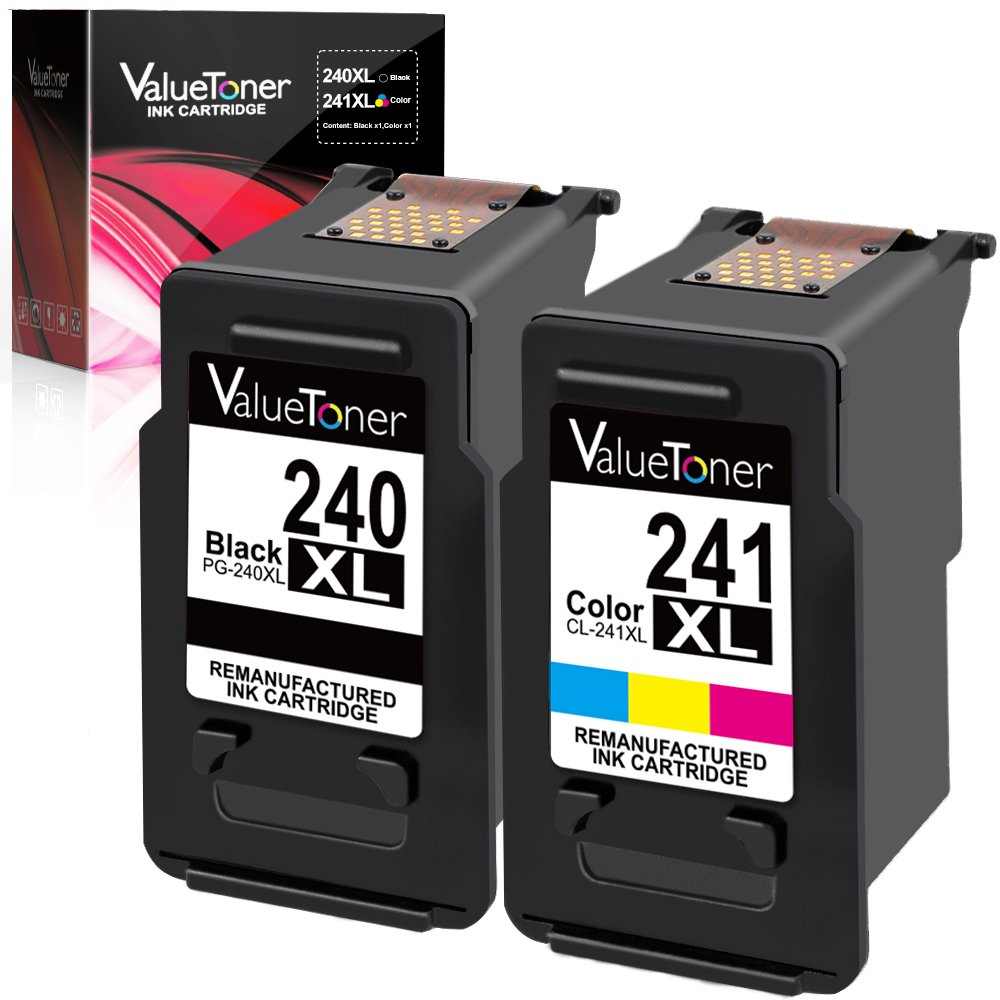 Amazon Valuetoner Remanufactured Ink Cartridge Replacement For Canon PG 240XL CL 241XL High Yield 5206B005 5206B001 5208B001 1 Black Color2 Pack