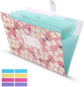 Skydue Accordian File Organizer with 8 lables, Expanding File Folders Floral Printed Letter Size Document Organizer for School Office Home