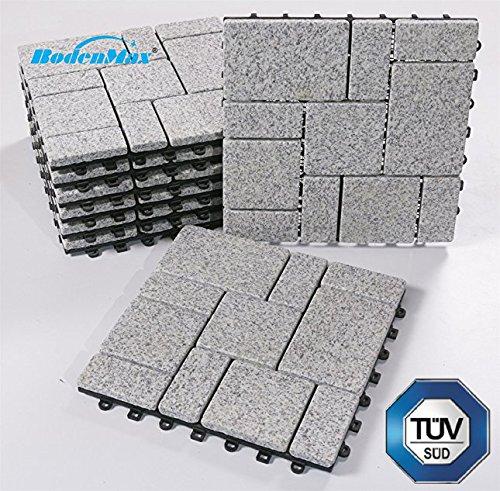 BodenMax Granit Granit Granit Click Bodenfliesen Set 30 x 30 cm Terassenfliesen Terassenplatte Stein Fliese Klickfliesen grau (8 Stück) ea70de