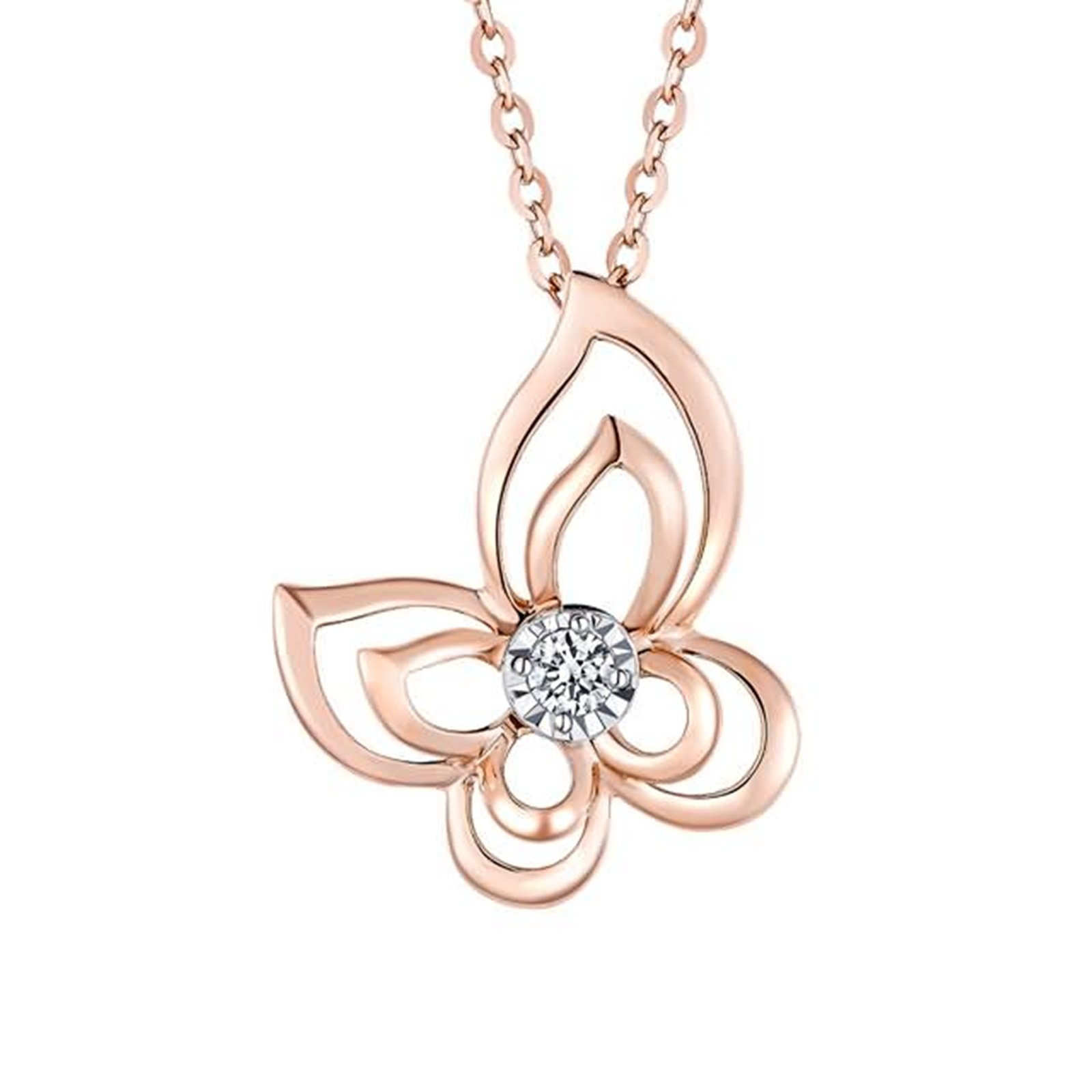 Adisaer 18k(750) Rose Gold Women Necklace Hollow Butterfly Pendant Round Diamond Wedding Necklace