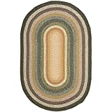 Safavieh Braided Collection BRD308A Hand Woven Blue and Multi Oval Area Rug (3' x 5' Oval)