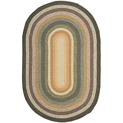 Safavieh Braided Collection BRD308A Hand Woven Blue and Multi Oval Area Rug (3' x 5' (Cotton Braided Olive)