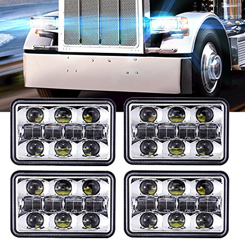 4pcs Dot approved 4×6 inch 60W Rectangular LED Headlights Hi/Lo Sealed Beam Replacement H4651 H4656 Hid Bulb Headlamps KW Kenworth T600 W900 T800 Truck Peterbilt 379 Chevy S10 Blazer RV Freightliner