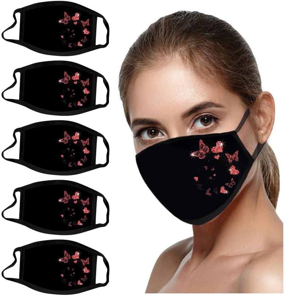 Máscara facial reutilizable y lavable para adultos, 5 unidades de impresión de mariposas brillantes, resistente al viento, niebla y protección completa contra el polvo (color rojo, estilo 2)
