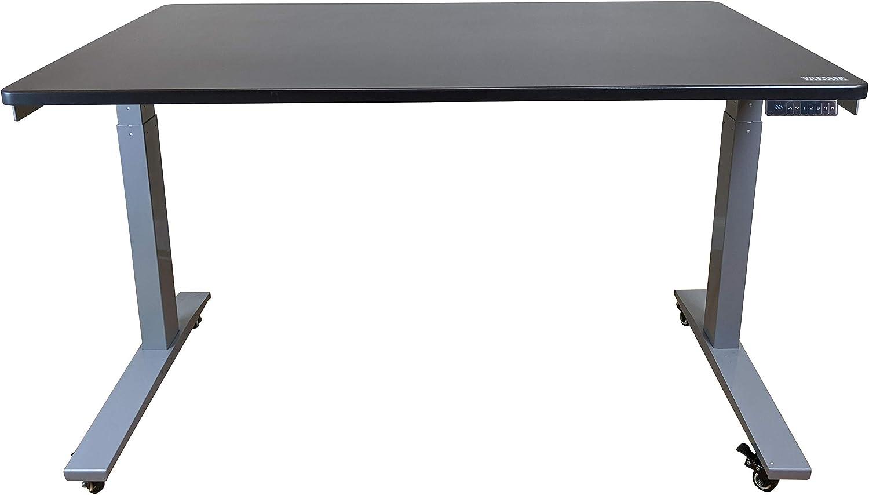 "48x30 Electric Adjustable Height Standing Desk Dual Motors Memory Ergonomic sit Stand up Office Desk Black Desktop (Gray Frame   Height 26.1-51.6"")"