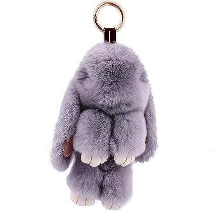 Cute Mini conejo muerto piel artificial conejo llavero con ...