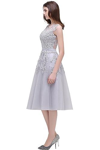 9b5d238fb1 Babyonlinedress Vestido corto para fiesta de noche y para boda estilo  A-line elegante cuello