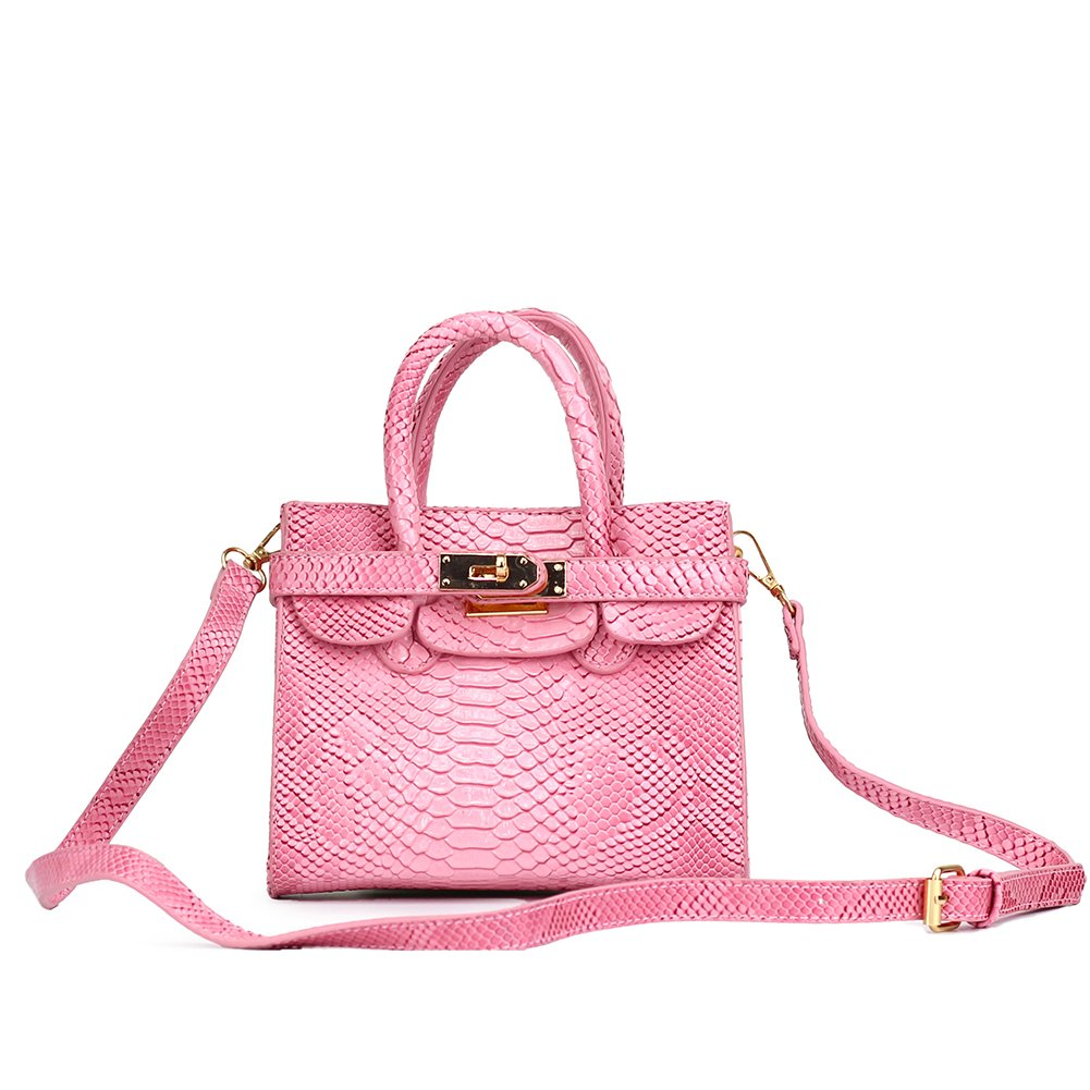 CMK Trendy Kids Colorful Python Grain Kids Crossbody Handbags for Girls with Little Rhinestone Sheep (80013_Pink) by CMK Trendy Kids (Image #7)
