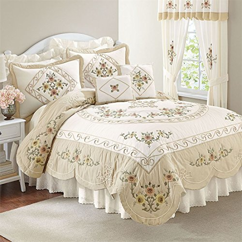 Ava Comforter Set (Brylanehome Ava Oversized Embroidered Cotton Quilt (Taupe,Full/Queen))