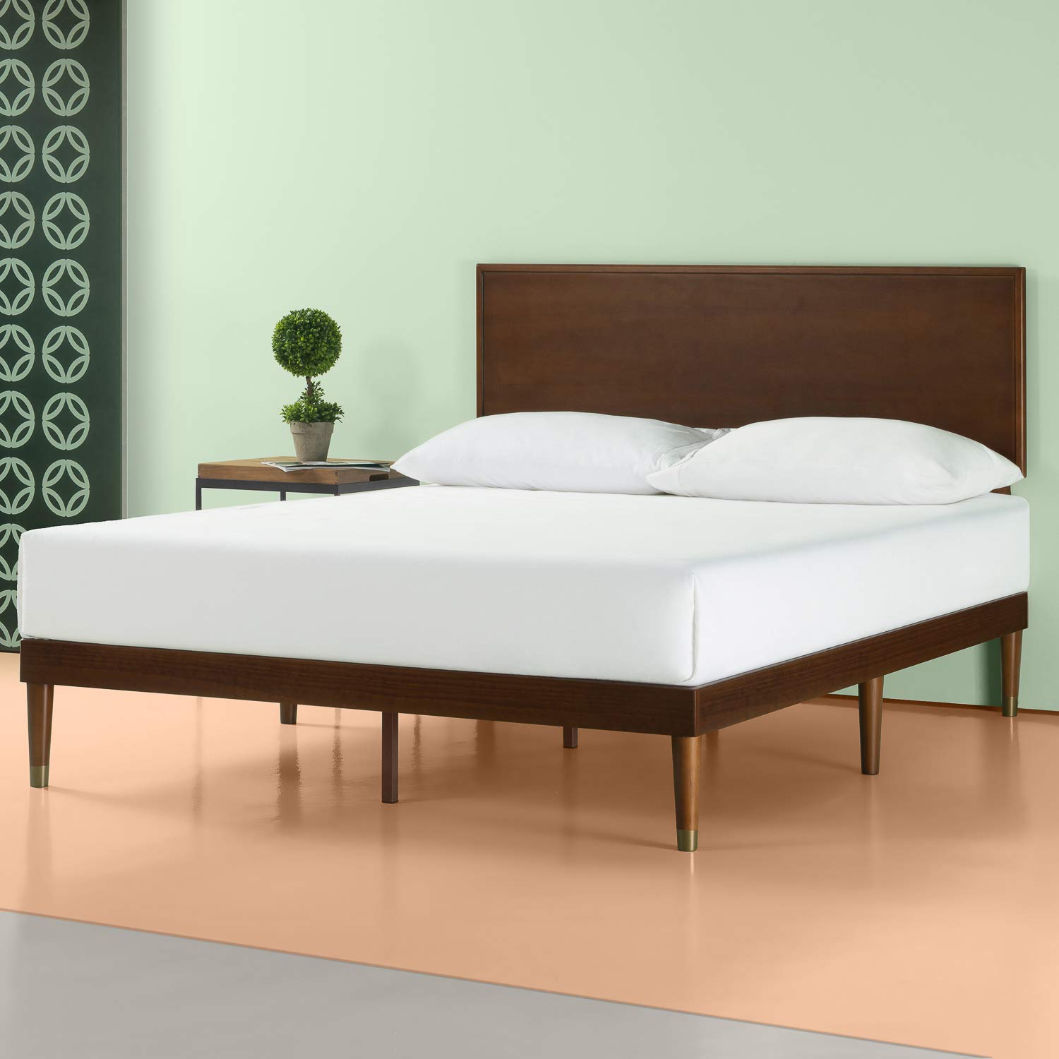 Zinus Deluxe Mid-Century Wood Platform Bed with Adjustable height Headboard, no Box Spring needed, King by Zinus
