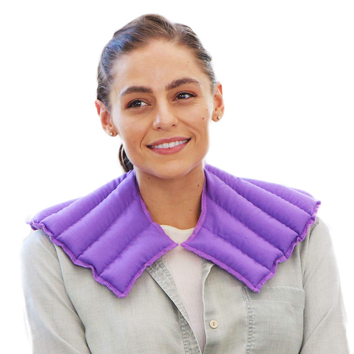 My Heating Pad – Neck and Shoulder Wrap for Stress, Tension, Migraine Relief - Microwavable and Reusable – Hot Therapy Pack (Purple)