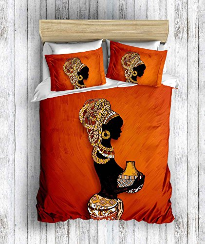 DecoMood 3D Printed 100% Cotton Bedding Set, Traditional African Women Themed, Full/Queen Size Quilt/Duvet Cover Set, Orange (3 Pcs) ()