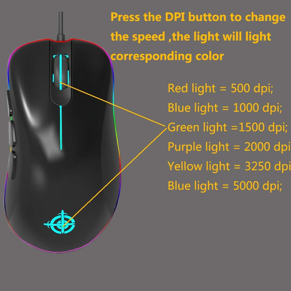 MG10 Gaming Mouse RGB Wired Mice-12400 DPI-6 Programmable Butto Mouse RGB Mouse