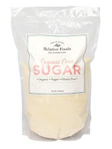 Relative Foods USDA organic cane sugar, 5 pounds, packaged in our gluten free, allergen free facility. Heavy duty stand up pouch with resealable zipper.
