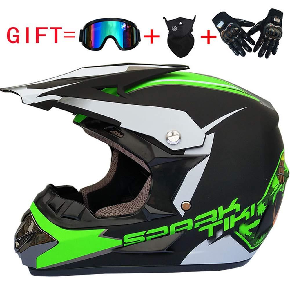 C XL LKJCZ Double Sport Motocross Casque & Adult MX Motocross Gants Masques Masque