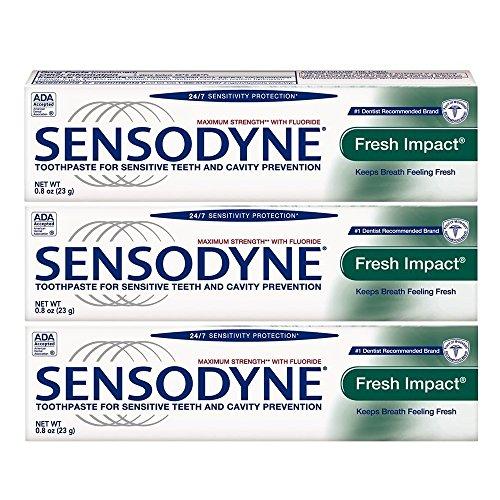 Sensodyne Fresh Impact Toothpaste for Sensitive Teeth, Travel Size 0.8 Ounce (23g) – Pack of 3