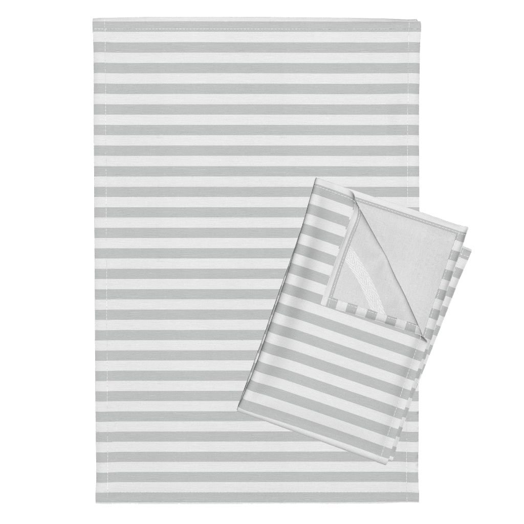 Roostery Grey and White Stripe Gray and White Stripe Stripe Grey Stripes Simple Littlearrow Tea Towels Stripes Glacier Woods by Littlearrowdesign Set of 2 Linen Cotton Tea Towels