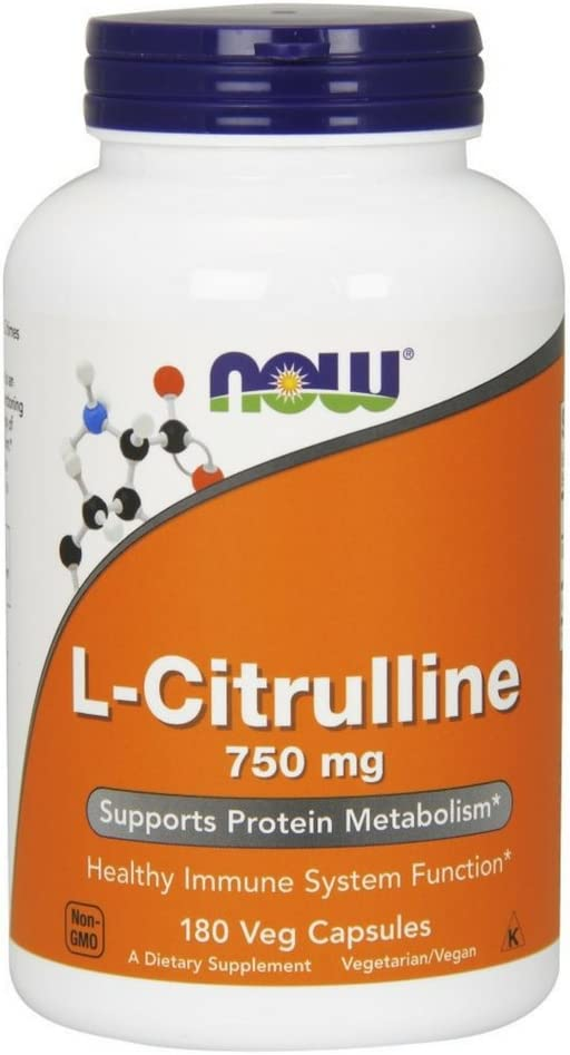 NOW Supplements, L-Citrulline 750 mg, Supports Protein Metabolism*, Amino Acid, 180 Veg Capsules