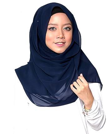 SAFIYA - Hijab pour femmes musulmanes voilées I Foulard voile turban  écharpe pashmina châle robe islamique I Mousseline de soie I Bleu marine -  75x180cm  ... 00696e643d2