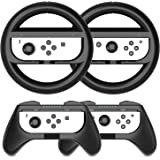 Grip Kit Joy-Con Grip Compatible with Nintendo Switch Controller Racing Switch Steering Wheel - 4 Pack, Comfort Handle for Ki