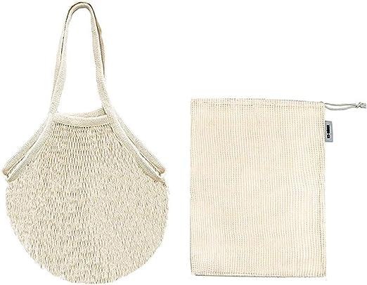 Gosear - Lote de 2 bolsas de malla de algodón reutilizables, 1 bolsa de mano y 1 bolsa de cordón para la cocina doméstica, verduras y frutas: Amazon.es: Hogar
