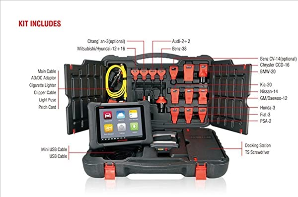 Autel Maxisys Elite is a diagnostic scan tool that is with rubberized outer protection and a rugged internal housing