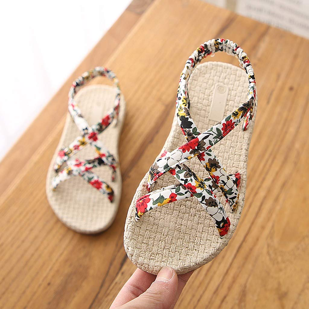 Cloudqi Summer Popular Shoes Fashion Infant Kids Baby Children Girls Roma Cross Tie Floral Sandals Beach Princess Casual Shoes
