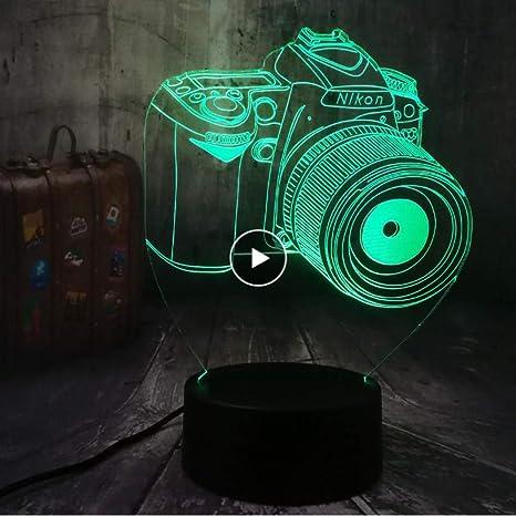 Luz de la noche Cámara 3D LED Luz nocturna 7 Cambio de color Toque ...