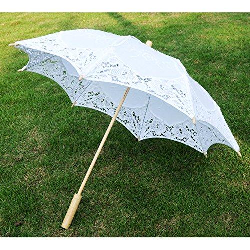 Gosear Plegable Sombrillas Encaje de Flores Chicas de Boda Nupcial de Partido de Sol Paraguas Decoracion de la Boda apoyos (Blanco): Amazon.es: Hogar