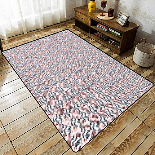 Bedroom Rug,Abstract,Rhombus Diamond Shaped Geometric Stripes Pattern Abstract Composition,Extra Large Rug,5'10