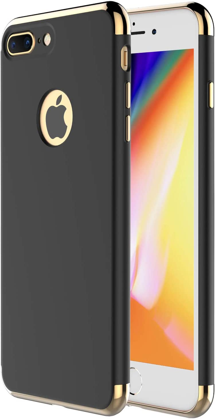 """iPhone 8 Plus Case,iPhone 7 Plus,RORSOU 3 in 1 Ultra Thin and Slim Hard Case Coated Non Slip Matte Surface with Electroplate Frame for Apple iPhone 7/8 Plus (5.5"""") - Black and Gold"""