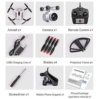 Funnyrunstore S13 4 canali 6 Assi a Lunga Durata di Controllo remoto Quadcopter Fotocamera Drone UAV Sistema di Posizionamento Aereo con Fotocamera 0.3MP (Argento)