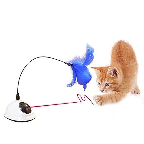 YGJT Juguetes Interactivos para Gatos Luz Roja en Movimiento con Pluma Interactiva Automático 360 ° Pluma