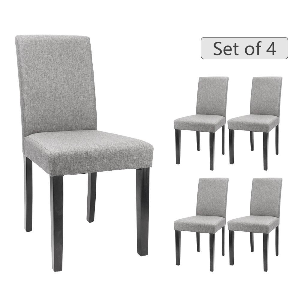 Furmax Dining Chairs Urban Style Fabric Parson Chair Kitchen Livng Room Armless Side Chair with Solid Wood Legs (Gray Set of 4)