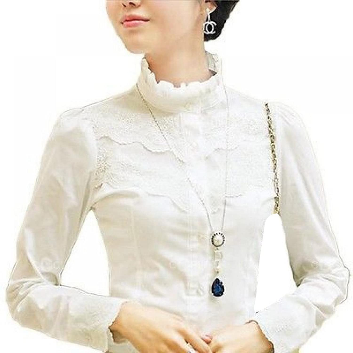 Victorian Fitted Casual Sheer Chiffon Lace Blouse Shirt Top $15.90 AT vintagedancer.com