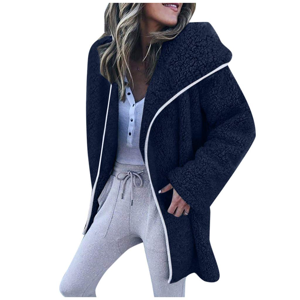 Dermanony Womens Coat Jacket Winter Warm Parka Outwear Solid Color Lapel Cardigan Sweater Casual Fleece Jacket Coat Dark Blue by Dermanony _Coat