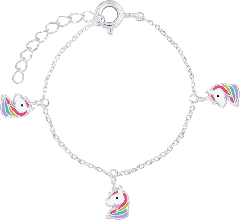 Girls Multi-Coloured Unicorn Head Sterling Silver Bracelet Length 15cm